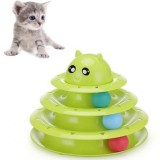 Pet Three-layer Turntable With Ball Cat Fun Toy Cat Scratch Board Pet Claws Supplies (Green)