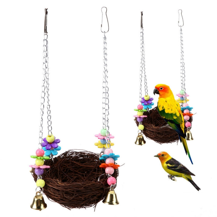 Parrot Bird Pet Straw Bird Nest Toy
