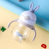 Cute Rabbit Ears Children Mouth Drinking Bottle Learning Drinking Cups Fall-resistant Anti-flatulence Children Cups (Blue)
