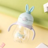 Cute Rabbit Ears Children Mouth Drinking Bottle Learning Drinking Cups Fall-resistant Anti-flatulence Children Cups (Green)