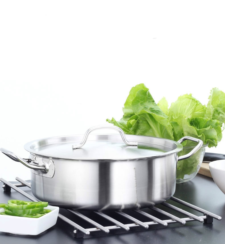 Stainless Steel Extra Thick Hot Pot Thickened Bottom Grid Pot (Diameter: 34cm)