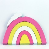Rainbow Piles Pile Blocks Building Children Room Decoration Photography Props (Pink Yellow White)