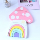 Wooden Children Toys Mushroom Rainbow Blocks Ornaments Photography Props (Pink)