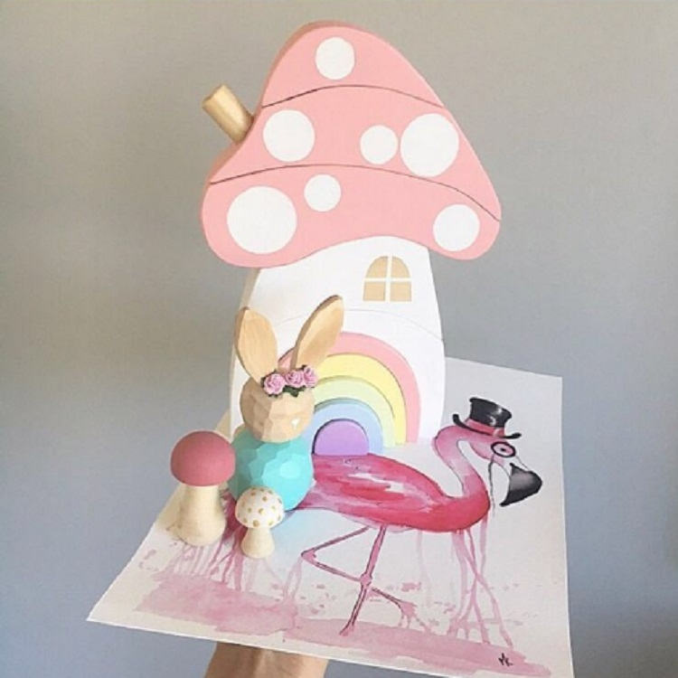 Wooden Children Toys Mushroom Rainbow Blocks Ornaments Photography Props (Pink)