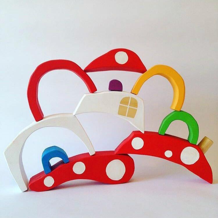 Wooden Children Toys Mushroom Rainbow Blocks Ornaments Photography Props (Orange)