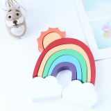 Wooden Rainbow Sun Clouds Piles of Music Blocks Children Room Decoration Photography Props (Red)