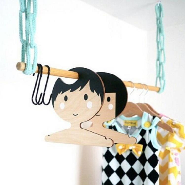 Wooden Boy Hanger Children Room Children Clothing Store Decorative Photography Props (Blue)
