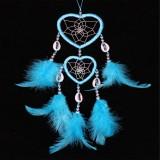 2 PCS Dreamcatcher Pendant Up And Down Double Ring Peach Heart Dream Catcher (Lake Blue)