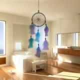 Satin Line Dream Net Home Feather Decorative Pendant Car Dream Catcher (Blue Purple)