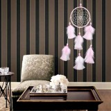 Satin Line Dream Net Home Feather Decorative Pendant Car Dream Catcher (Pink White)