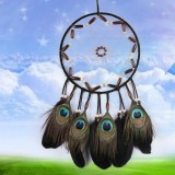 Hand-woven Natural Feather Single Ring Dream Catcher Home Hanging