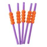 5 PCS Halloween Party Supplies Pumpkin Straw Straw Decoration (23CM Purple)