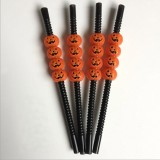 5 PCS Halloween Party Supplies Pumpkin Straw Straw Decoration (23CM Black Pumpkin)