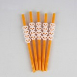 5 PCS Halloween Party Supplies Pumpkin Straw Straw Decoration (23CM Orange)