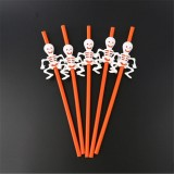 5 PCS Halloween Party Supplies Pumpkin Straw Straw Decoration (28CM Orange)