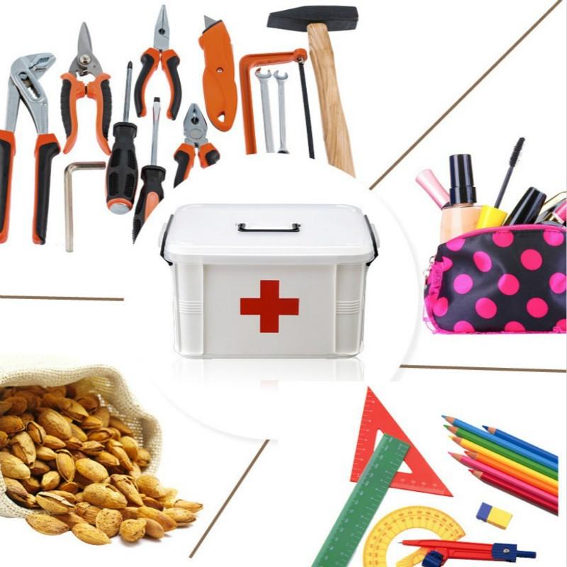 L Family Medical Box Multi-layer Medical Emergency Medicine Storage Box Household Plastic Medicine Box (White)