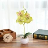 Decorative Landscaping Round Pot Three Flowers Phalaenopsis Bonsai Simulation Potted Plants (Green)
