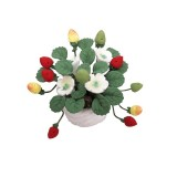 1:12 Mini House Toy Simulation Strawberry Fruit Potted Clay Flower (Potted Strawberry)