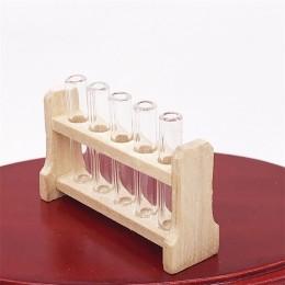 Dollhouse Miniature Wood Test Tube Rack Tubes Laboratory Decoration cb