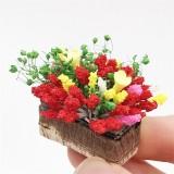 2 PCS 1:12 mini Doll House Dollhouse Garden Scene Simulation Flower Potted Clay Flower (Colour)