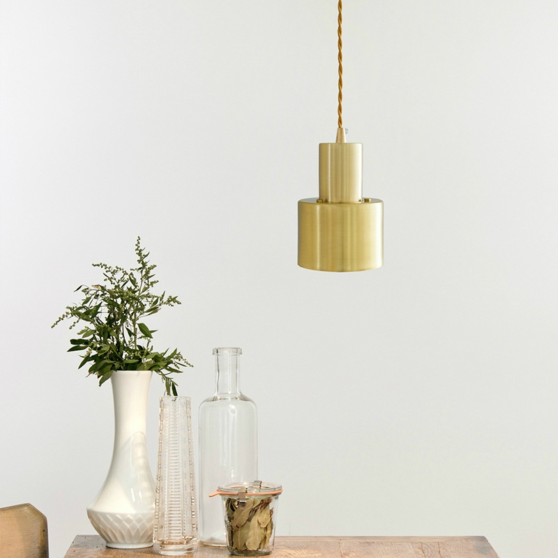 Pure Copper E27 LED Brass Cross Small Chandelier Simple Office Bedroom Copper Brass without Light Source