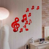 3D Musical Notes Acrylic Mirrors Wall Sticker Home Decor Living Room Wall Decoration Art DIY Wall Stickers (Red)