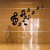3D Musical Notes Acrylic Mirrors Wall Sticker Home Decor Living Room Wall Decoration Art DIY Wall Stickers (Black)