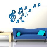 3D Musical Notes Acrylic Mirrors Wall Sticker Home Decor Living Room Wall Decoration Art DIY Wall Stickers (Blue)