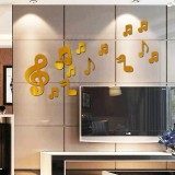 3D Musical Notes Acrylic Mirrors Wall Sticker Home Decor Living Room Wall Decoration Art DIY Wall Stickers (Gold)