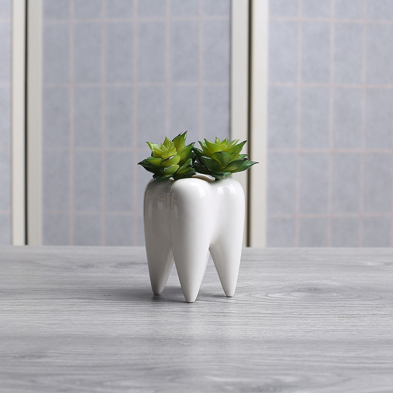 Succulent Potted Ceramic Pen Holder Home Decoration Tooth-shaped Desktop Ceramic Flower Pot, Without Plants