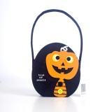 2 PCS Halloween Candy Bags Fabric Felt Halloween Trick or Treat Candy Storage Basket Children's Shopping Basket (A Section)