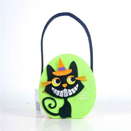 2 PCS Halloween Candy Bags Fabric Felt Halloween Trick or Treat Candy Storage Basket Children's Shopping Basket (D Section)