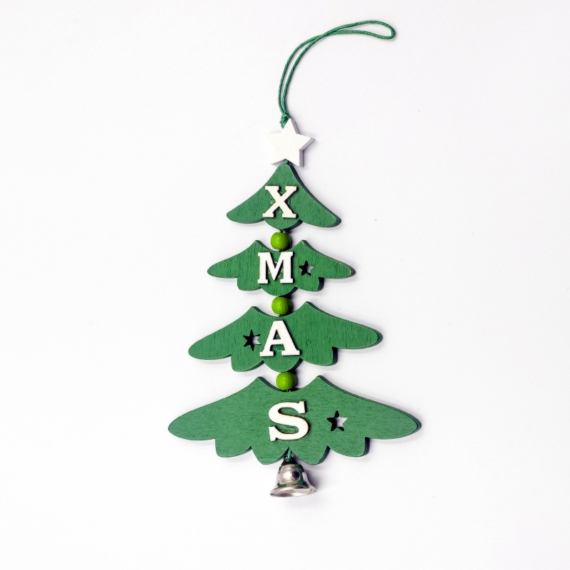2 PCS Christmas Wooden Painted Decorative Pendant Creative Christmas Tree Letter Bell Pendant Decoration (Green)