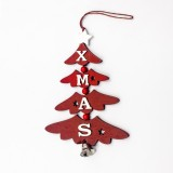 2 PCS Christmas Wooden Painted Decorative Pendant Creative Christmas Tree Letter Bell Pendant Decoration (Red)