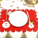 2 PCS Christmas Cartoon Non-woven Placemat Knife and Fork Set (Santa Claus + Deer)