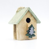 2 PCS Christmas Wooden Painted Cabin Pendant Creative Christmas Tree Pendant Clip (Christmas tree)