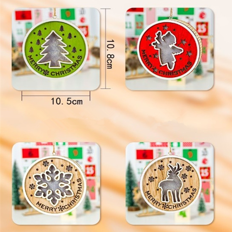 2 PCS Wooden Painted Christmas Round Light Card Pendant Creative Hollow Christmas Tree Decoration Listing (Christmas Tree)