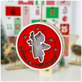 2 PCS Wooden Painted Christmas Round Light Card Pendant Creative Hollow Christmas Tree Decoration Listing (Angel)