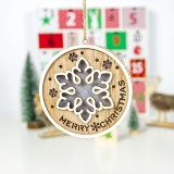 2 PCS Wooden Painted Christmas Round Light Card Pendant Creative Hollow Christmas Tree Decoration Listing (Snowflake)
