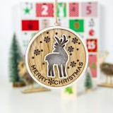 2 PCS Wooden Painted Christmas Round Light Card Pendant Creative Hollow Christmas Tree Decoration Listing (Deer)