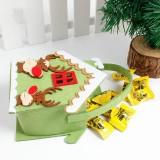 2 PCS Creative Cartoon Christmas Gift Bag Candy Bag Non-woven Gift Bag Christmas Decoration (Deer)