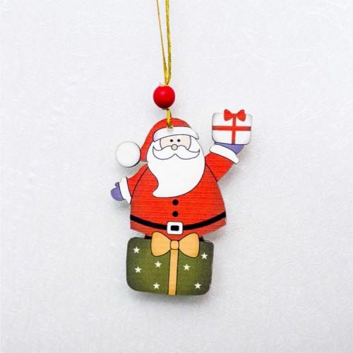 2 PCS Christmas Creative Painted Wooden Sign Pendant Door and Window Decorations (Santa)