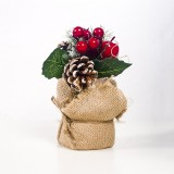 2 PCS Creative Christmas Simulation Pine Conifer Needle Potted Decoration (Green Pine Cone Red Fruit)