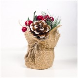 2 PCS Creative Christmas Simulation Pine Conifer Needle Potted Decoration (Pine Cone Red Fruit)