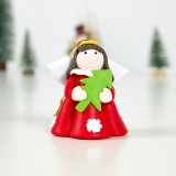 2 PCS Christmas Decorations White Skirt Girl Christmas Angel Pendant Creative Soft Clay Christmas Tree Pendant (A Red Christmas Tree)