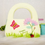 2 PCS Cartoon Butterfly Fabric Felt Candy Storage Bag Shopping Basket, Specification: A Semi-circular Carrying Bag