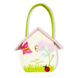 2 PCS Cartoon Butterfly Fabric Felt Candy Storage Bag Shopping Basket, Specification: B Green Portable Bag