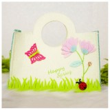 2 PCS Cartoon Butterfly Fabric Felt Candy Storage Bag Shopping Basket, Specification: C Round Portable Bag