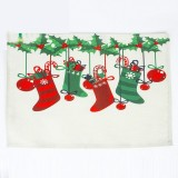 2 PCS Christmas Creative Printed Linen Placemat Knife and Fork Pad Decoration (Multi-Christmas Stockings)