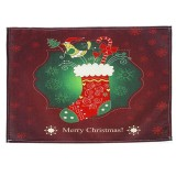 2 PCS Christmas Creative Printed Linen Placemat Knife and Fork Pad Decoration (Christmas Stockings)